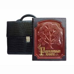 Родословная книга кожаная обложка с оплеткой (в портфеле) РК-18