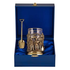 Набор для чая «Строители» (стакан - хрусталь с золотым ободком, деревянный футляр, ложка - латунь) ПДКО-336ДФ