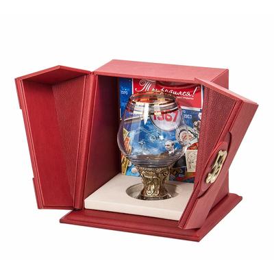 """Бокал """"50 лет"""" для бренди Богемия отделка """"Сеточка"""" (в кожаном футляре) + в подарок с DVD-открыткой """"Ты родился!"""" 1969 год БББ-50лет-ОТР"""