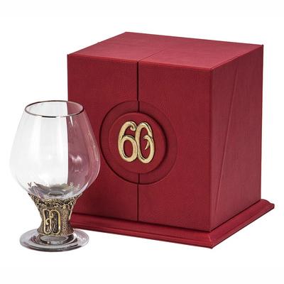 """Бокал """"60 лет"""" для бренди Богемия отделка """"Оптика"""" (в кожаном футляре) + в подарок DVD-открытка """"Ты родился!"""" 1959 год БББ-60лет-Оп-ОТР"""