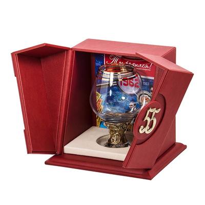 """Бокал """"55 лет"""" для бренди Богемия отделка """"Сеточка"""" (в кожаном футляре) + в подарок DVD-открытка """"Ты родился!"""" 1964 год БББ-55лет-ОТР"""