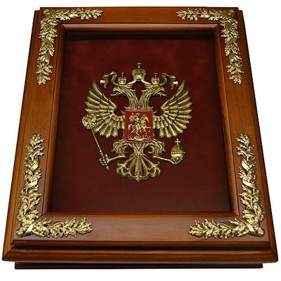Деревянная ключница настенная с гербом России 15-254