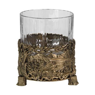 "Бокал для виски ""Медведь"", Н=100 мм.,V=280 мл., с камнями в деревянном футляре БВ-01(Медведь)КДФ"