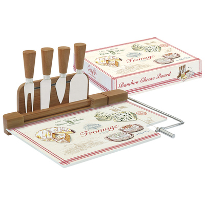 Набор д/сыра: разделочная доска (стекло) + 4 ножа FROMAGE в подарочной упаковке