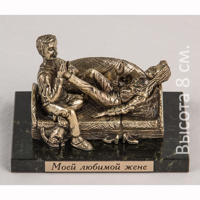 """Бронзовая скульптура на натуральном камне """"Моей любимой жене"""" БФКК-42/2жене"""