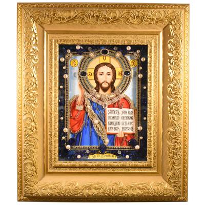 """Икона с полудрагоценными камнями """"Господь Вседержитель"""" reg20156"""