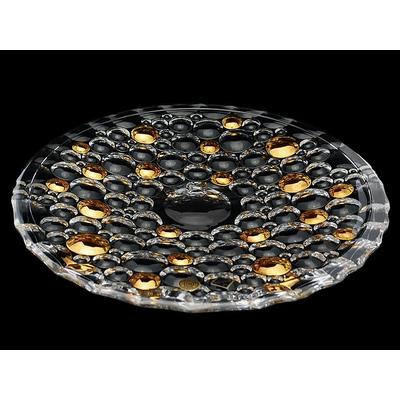 Bohemia Jihlava Поднос Lisboa золотые шары 38 см. (гладкий хрусталь Йиглава)